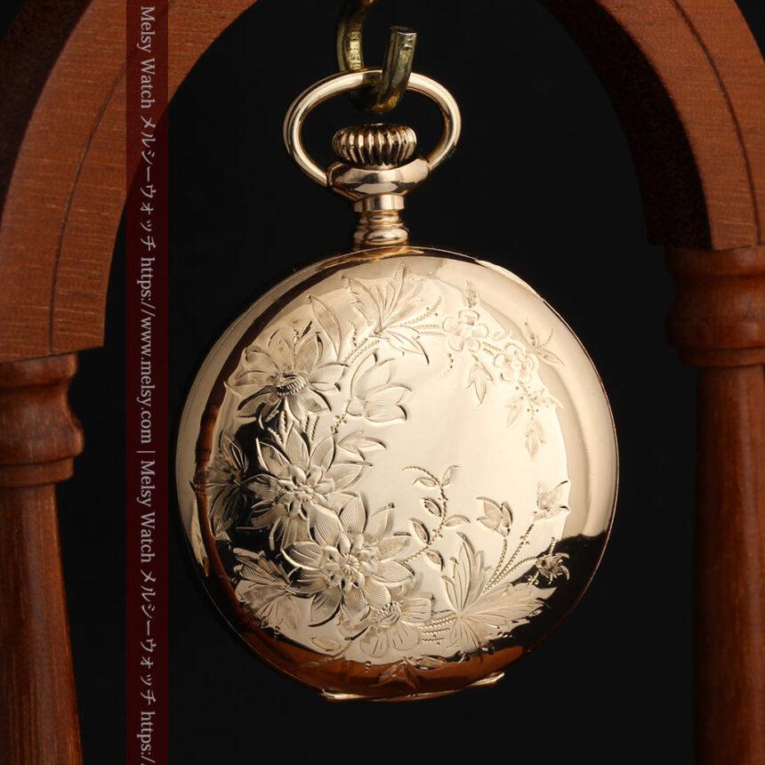 金と青の装飾が美しいエルジンのアンティーク懐中時計【1904年製】-P2271-11