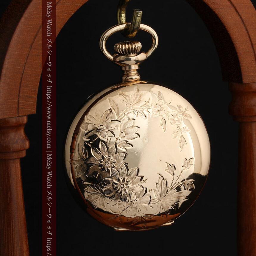 金と青の装飾が美しいエルジンのアンティーク懐中時計【1904年製】-P2271-12