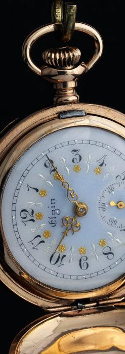 金と青の装飾が美しいエルジンのアンティーク懐中時計【1904年製】-P2271-13