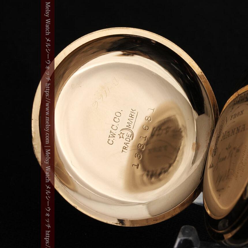 金と青の装飾が美しいエルジンのアンティーク懐中時計【1904年製】-P2271-15