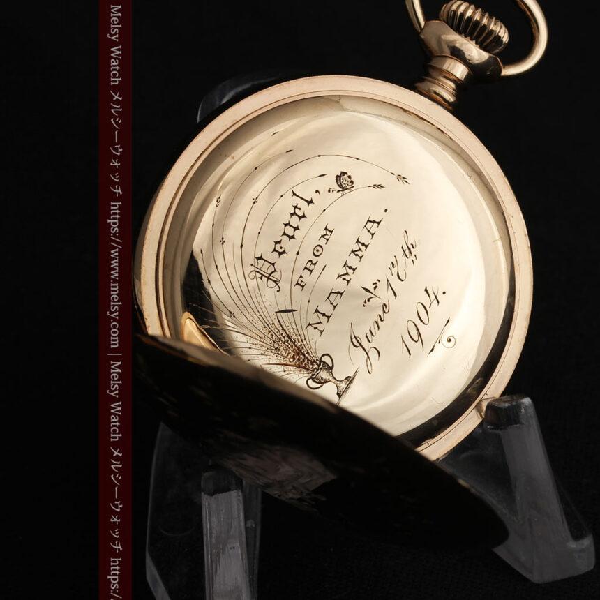 金と青の装飾が美しいエルジンのアンティーク懐中時計【1904年製】-P2271-16