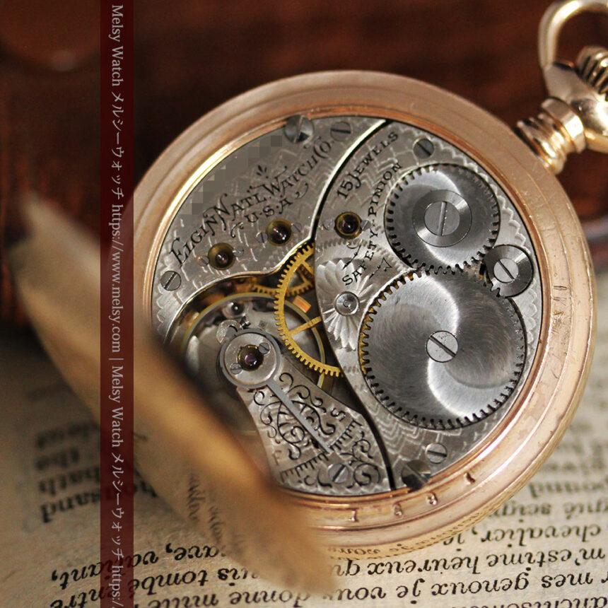 金と青の装飾が美しいエルジンのアンティーク懐中時計【1904年製】-P2271-18