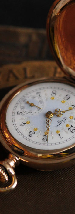 金と青の装飾が美しいエルジンのアンティーク懐中時計【1904年製】-P2271-4