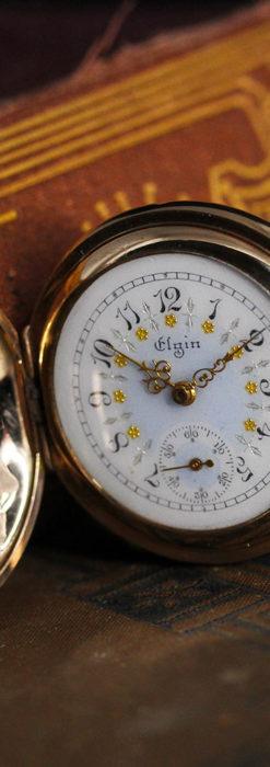 金と青の装飾が美しいエルジンのアンティーク懐中時計【1904年製】-P2271-5