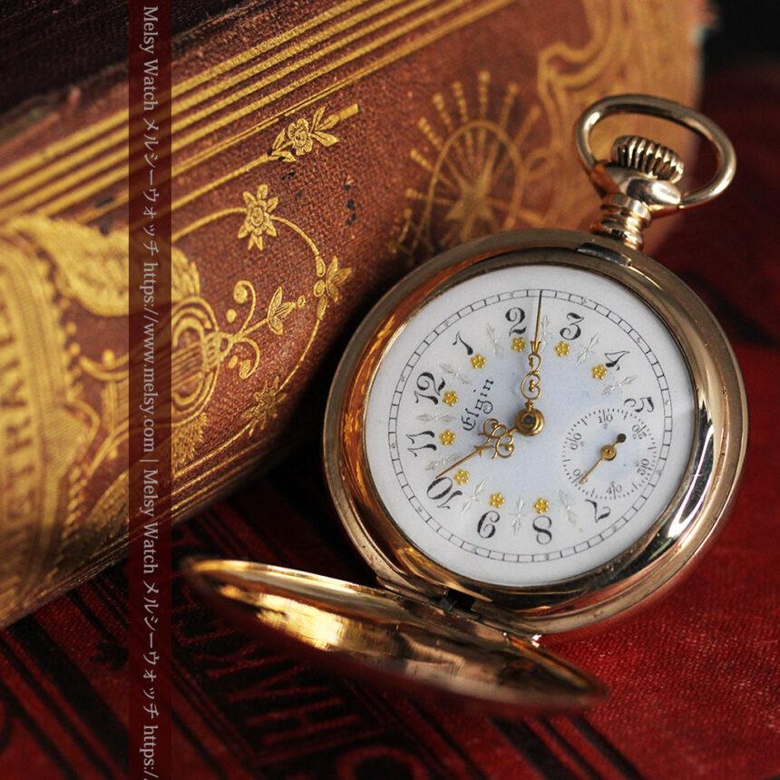 金と青の装飾が美しいエルジンのアンティーク懐中時計【1904年製】-P2271-6
