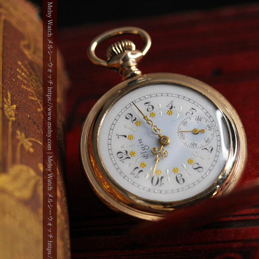 金と青の装飾が美しいエルジンのアンティーク懐中時計【1904年製】-P2271-7