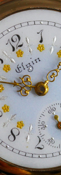 金と青の装飾が美しいエルジンのアンティーク懐中時計【1904年製】-P2271-8