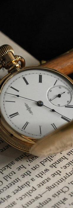 程よいサイズと装飾 エルジンの剣引き式アンティーク懐中時計【1887年製】-P2272-1