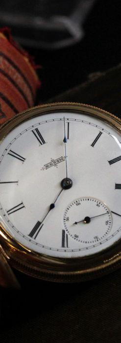 程よいサイズと装飾 エルジンの剣引き式アンティーク懐中時計【1887年製】-P2272-2