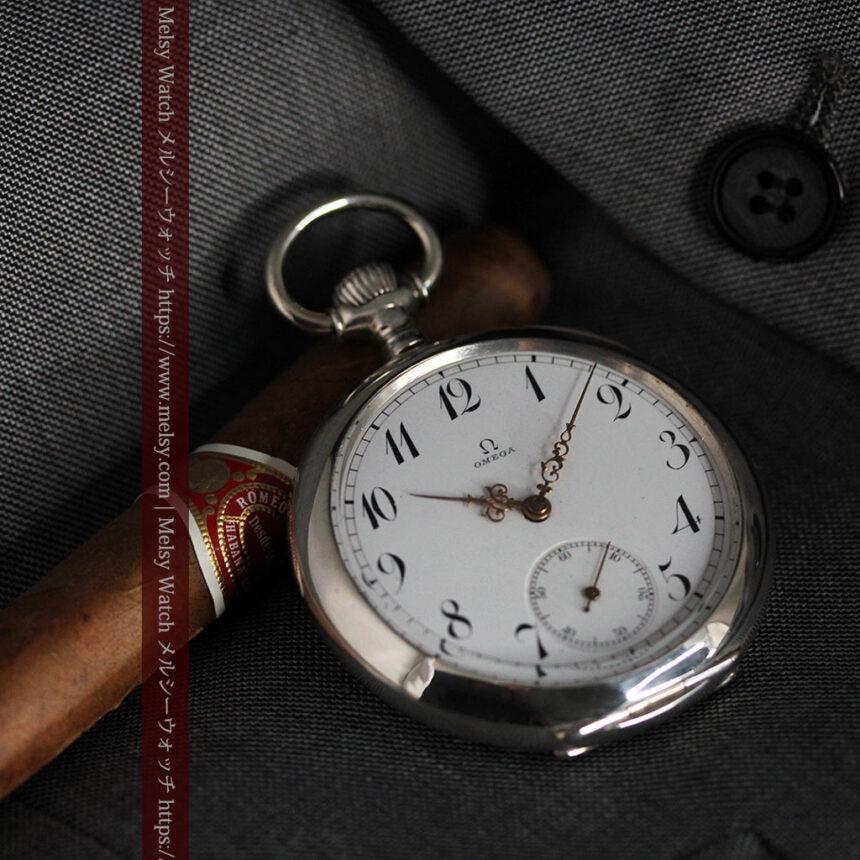 オメガの風格ある重厚な銀無垢アンティーク懐中時計 【1913年製】-P2273-10