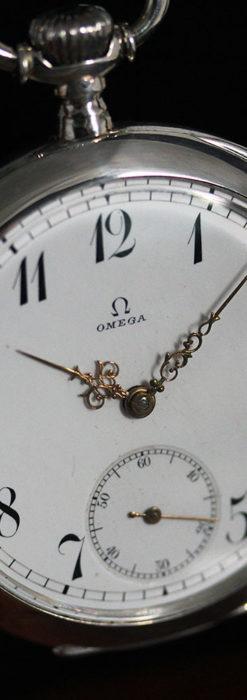 オメガの風格ある重厚な銀無垢アンティーク懐中時計 【1913年製】-P2273-13