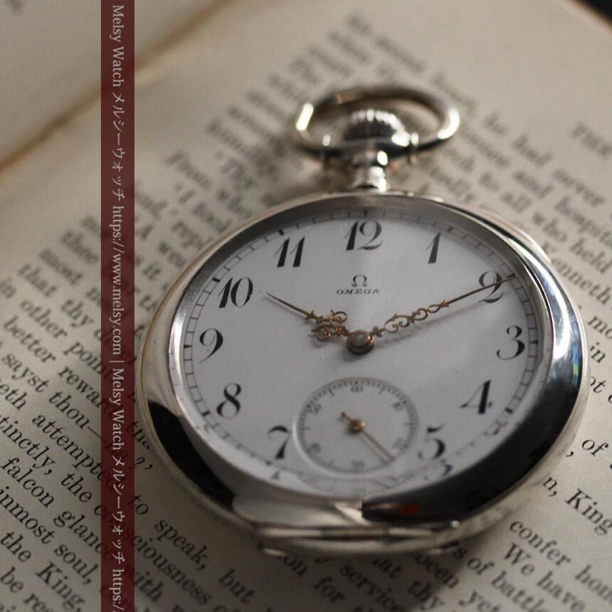 オメガの風格ある重厚な銀無垢アンティーク懐中時計 【1913年製】-P2273-2