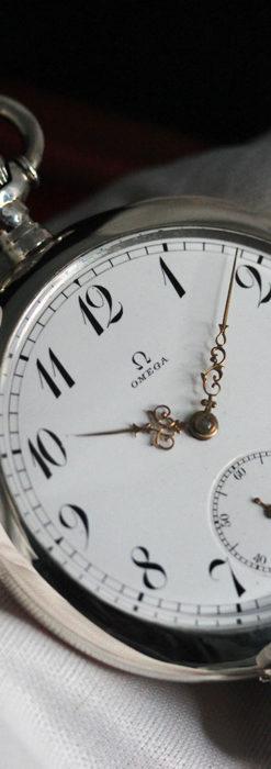 オメガの風格ある重厚な銀無垢アンティーク懐中時計 【1913年製】-P2273-3