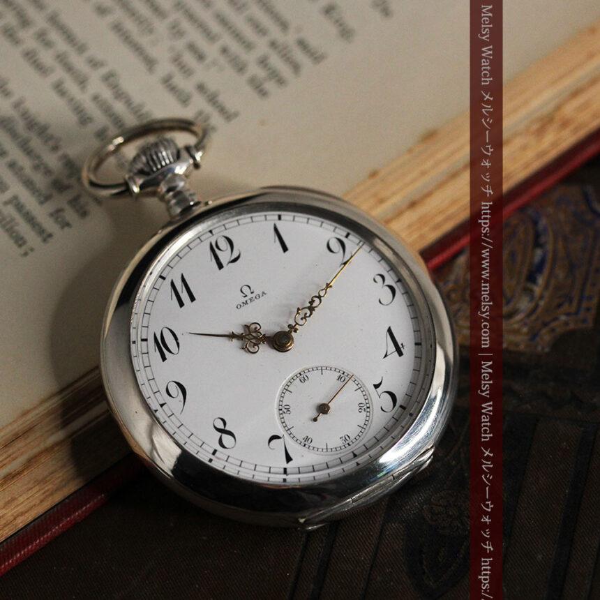オメガの風格ある重厚な銀無垢アンティーク懐中時計 【1913年製】-P2273-7