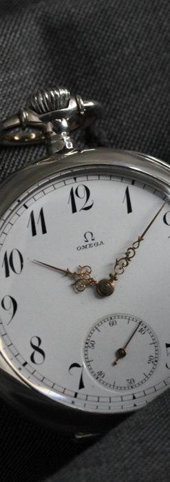 オメガの風格ある重厚な銀無垢アンティーク懐中時計 【1913年製】-P2273-8