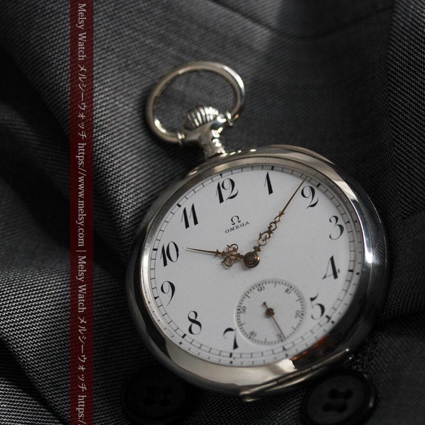 オメガの風格ある重厚な銀無垢アンティーク懐中時計 【1913年製】-P2273-9