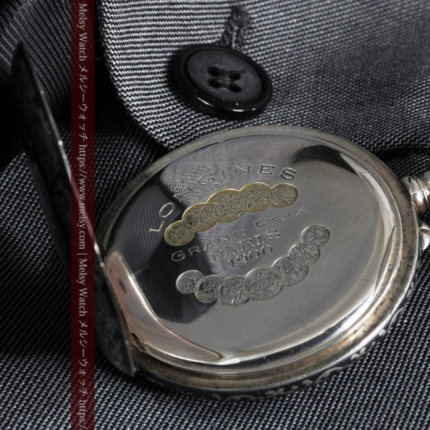 黒金装飾と彫りが美しいロンジンの銀無垢アンティーク懐中時計 【1905年製】革紐付き-P2274-22