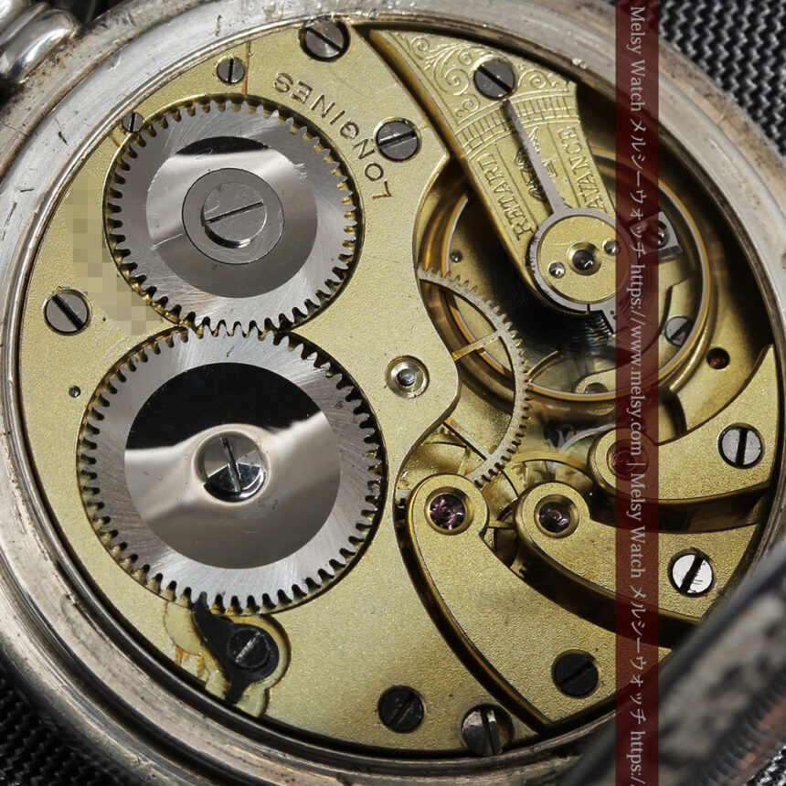 黒金装飾と彫りが美しいロンジンの銀無垢アンティーク懐中時計 【1905年製】革紐付き-P2274-24