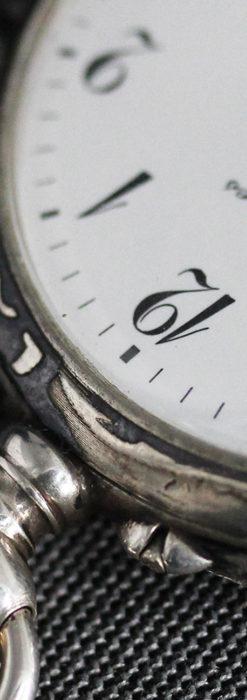 黒金装飾と彫りが美しいロンジンの銀無垢アンティーク懐中時計 【1905年製】革紐付き-P2274-26