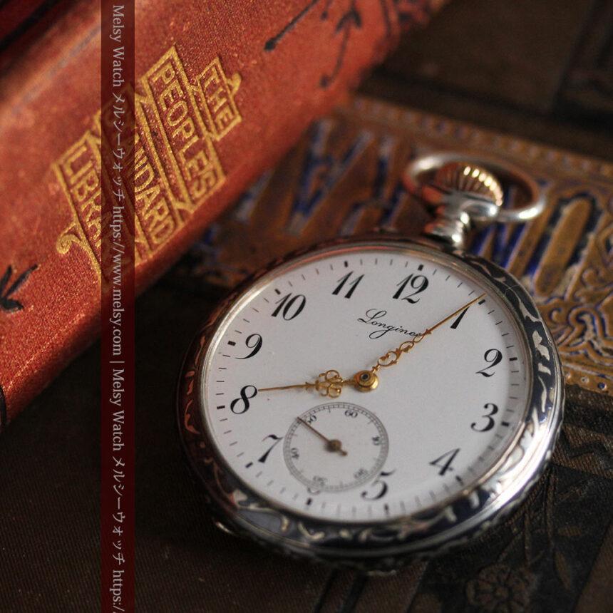 黒金装飾と彫りが美しいロンジンの銀無垢アンティーク懐中時計 【1905年製】革紐付き-P2274-8