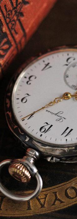 黒金装飾と彫りが美しいロンジンの銀無垢アンティーク懐中時計 【1905年製】革紐付き-P2274-9