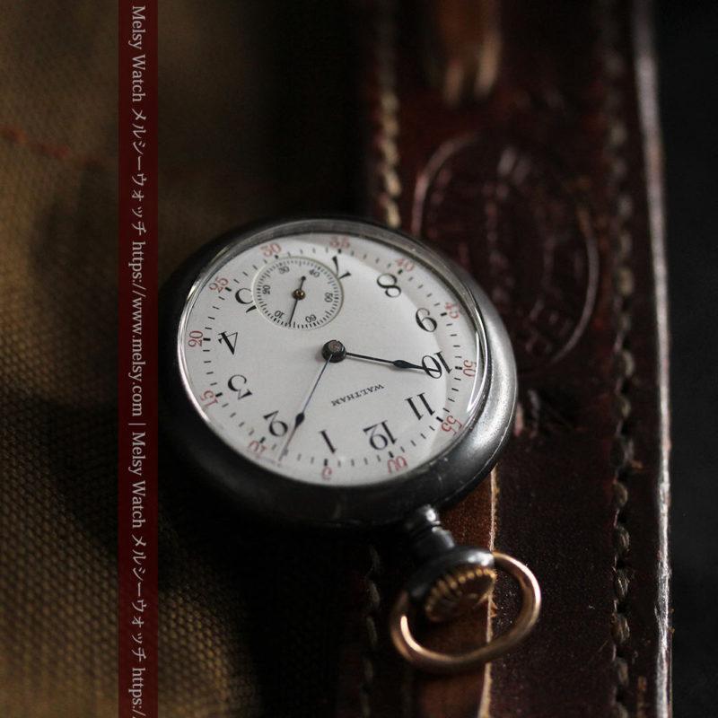 ウォルサムのガンメタルの渋いアンティーク懐中時計 【1909年製】-P2276-1