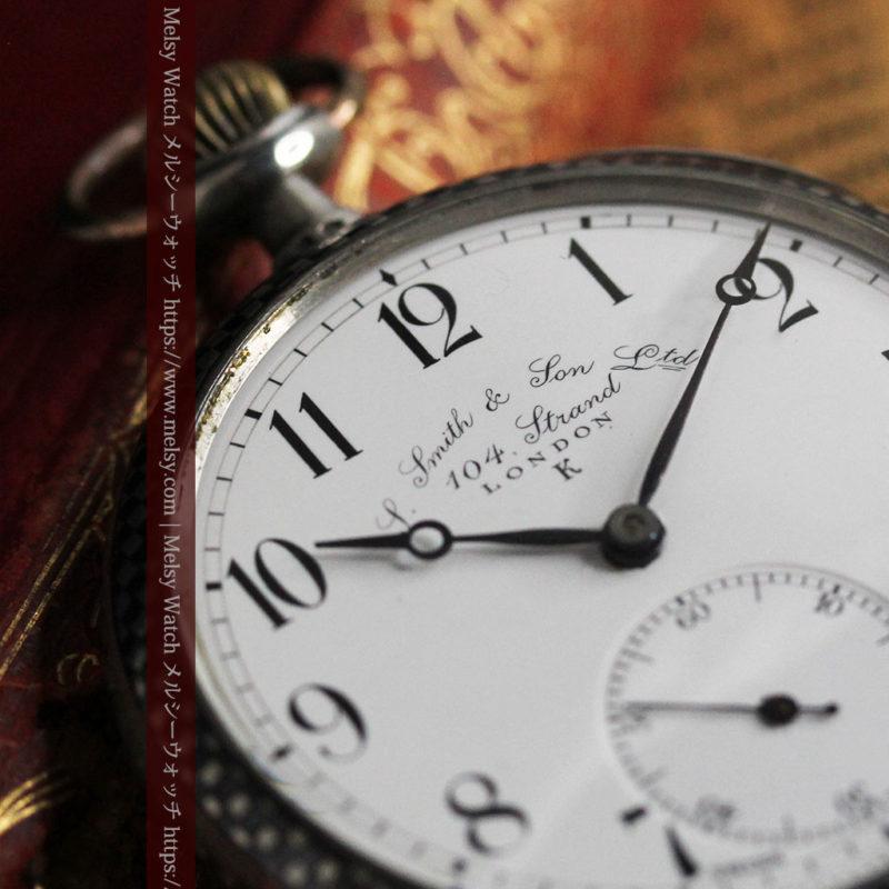 市松模様の黒金装飾 英国スミスの銀無垢懐中時計 【1900年頃】-P2278-1
