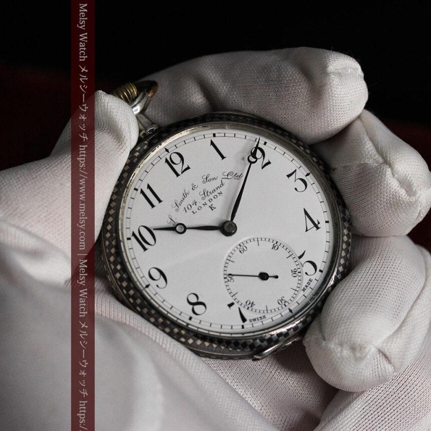 市松模様の黒金装飾 英国スミスの銀無垢懐中時計 【1900年頃】-P2278-10