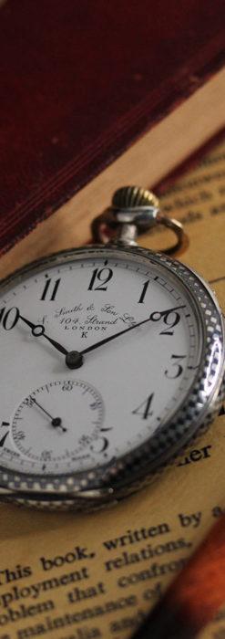 市松模様の黒金装飾 英国スミスの銀無垢懐中時計 【1900年頃】-P2278-5