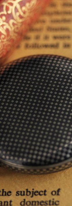 市松模様の黒金装飾 英国スミスの銀無垢懐中時計 【1900年頃】-P2278-7