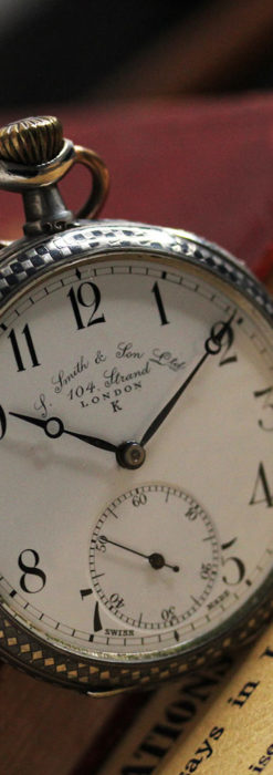 市松模様の黒金装飾 英国スミスの銀無垢懐中時計 【1900年頃】-P2278-8
