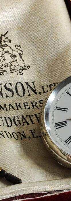 ベンソン 鍵巻き式銀無垢アンティーク懐中時計 【1888年頃】-P2279-1