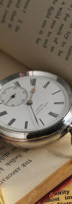ベンソン 鍵巻き式銀無垢アンティーク懐中時計 【1888年頃】-P2279-10