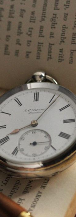 ベンソン 鍵巻き式銀無垢アンティーク懐中時計 【1888年頃】-P2279-11