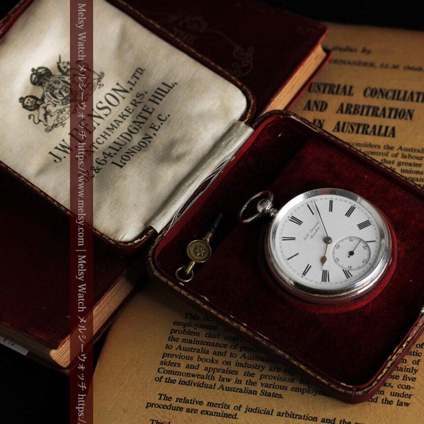 ベンソン 鍵巻き式銀無垢アンティーク懐中時計 【1888年頃】-P2279-19