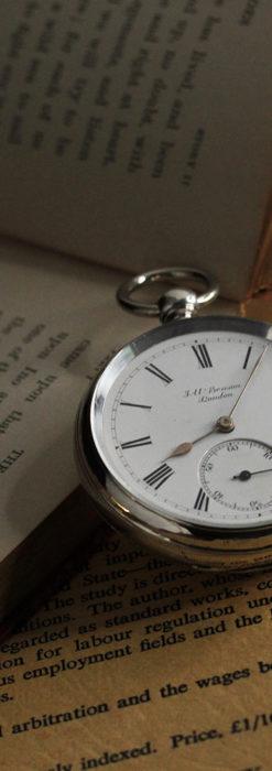 ベンソン 鍵巻き式銀無垢アンティーク懐中時計 【1888年頃】-P2279-2