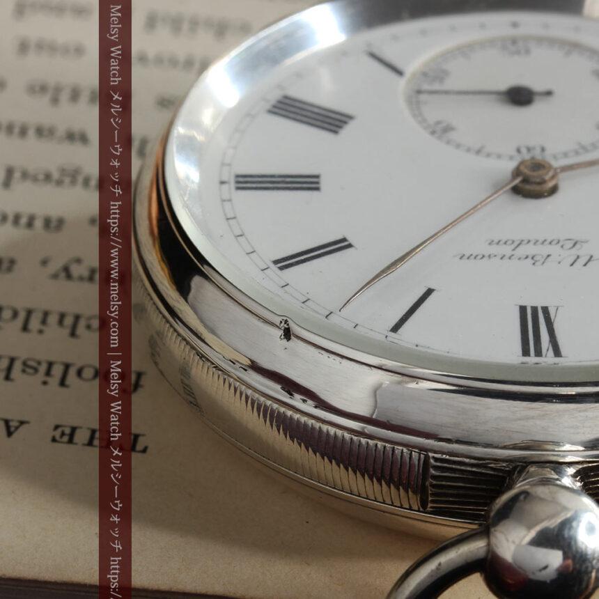 ベンソン 鍵巻き式銀無垢アンティーク懐中時計 【1888年頃】-P2279-24