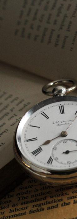 ベンソン 鍵巻き式銀無垢アンティーク懐中時計 【1888年頃】-P2279-4