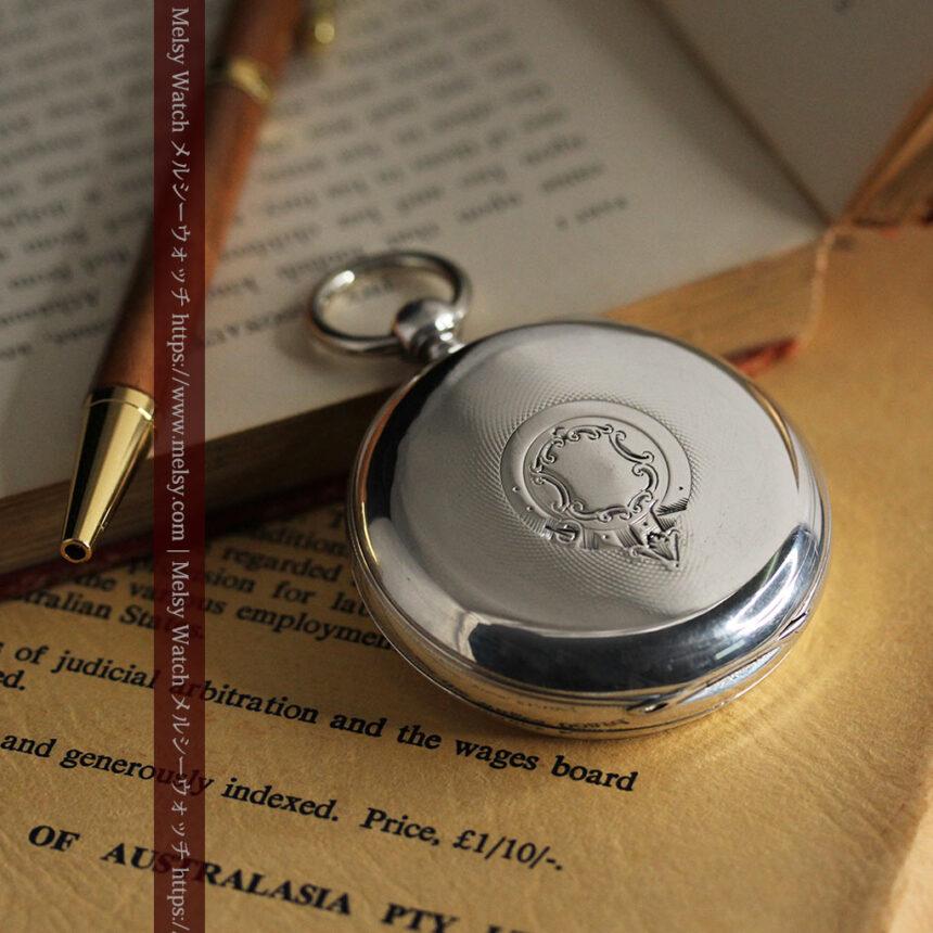 ベンソン 鍵巻き式銀無垢アンティーク懐中時計 【1888年頃】-P2279-5