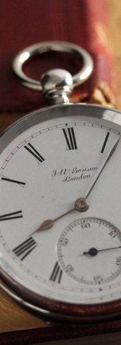 ベンソン 鍵巻き式銀無垢アンティーク懐中時計 【1888年頃】-P2279-6