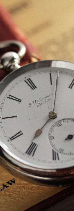 ベンソン 鍵巻き式銀無垢アンティーク懐中時計 【1888年頃】-P2279-7