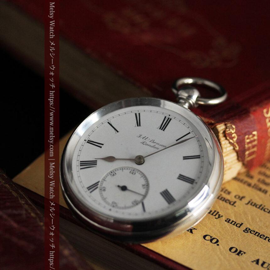 ベンソン 鍵巻き式銀無垢アンティーク懐中時計 【1888年頃】-P2279-8