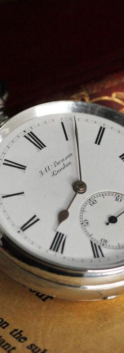 ベンソン 鍵巻き式銀無垢アンティーク懐中時計 【1888年頃】-P2279-9