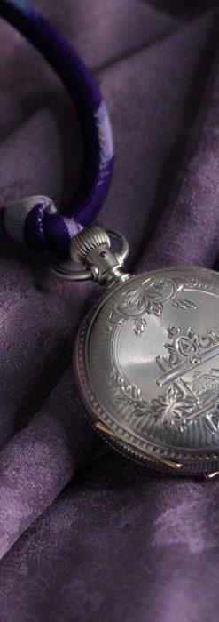 エルジン 模様彫り・蓋付きの銀無垢アンティーク懐中時計 【1891年製】-P2280-1