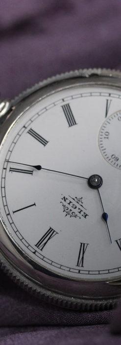 エルジン 模様彫り・蓋付きの銀無垢アンティーク懐中時計 【1891年製】-P2280-10