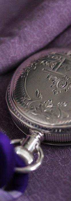 エルジン 模様彫り・蓋付きの銀無垢アンティーク懐中時計 【1891年製】-P2280-11