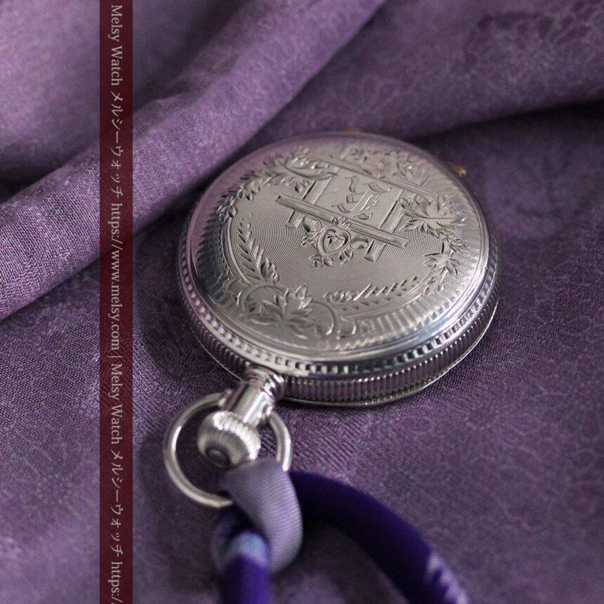 エルジン 模様彫り・蓋付きの銀無垢アンティーク懐中時計 【1891年製】-P2280-12