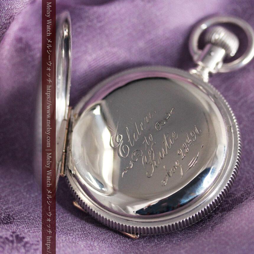 エルジン 模様彫り・蓋付きの銀無垢アンティーク懐中時計 【1891年製】-P2280-14