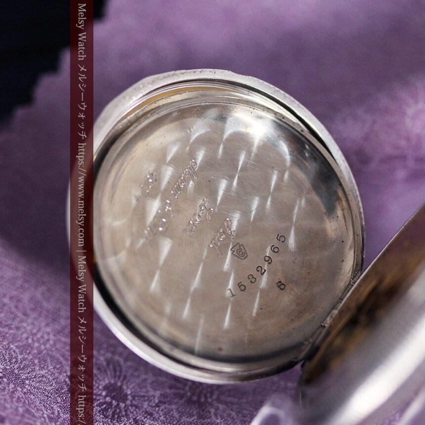 エルジン 模様彫り・蓋付きの銀無垢アンティーク懐中時計 【1891年製】-P2280-15