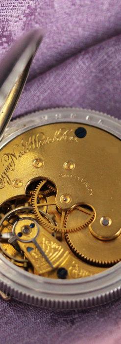 エルジン 模様彫り・蓋付きの銀無垢アンティーク懐中時計 【1891年製】-P2280-16
